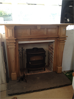 Logburner with Pine Surround