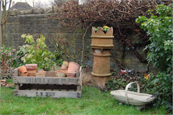 Chimney Pot Planter, Apple Crates, Garden